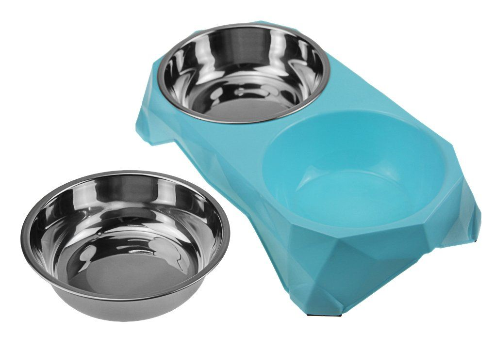 Double Stainless Steel Pet Dog Cat Puppy Feeding Food Water Bowls With No Spill Nonskid Plastic Raised Stand Mat Pet Diner Elevated F Dog Feeding Pet Dogs Dogs