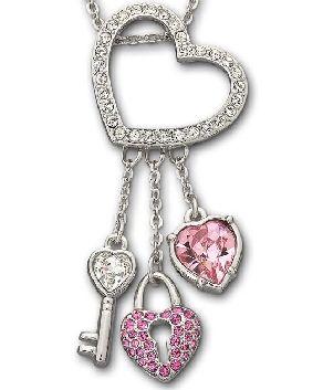 Swarovski Heart Lock And Key Pendant Swarovski Heart Monogram