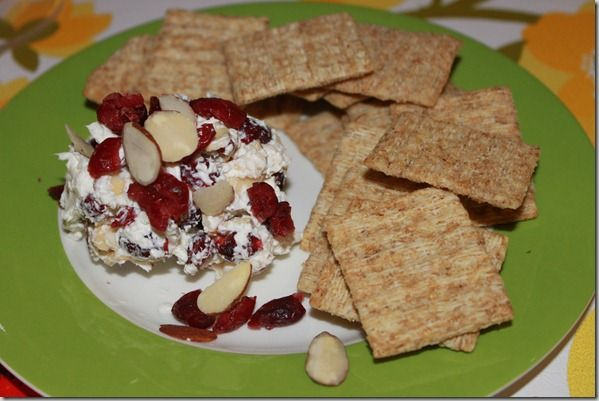 easy holiday party appetizer - cranberry cream cheese and almond spread