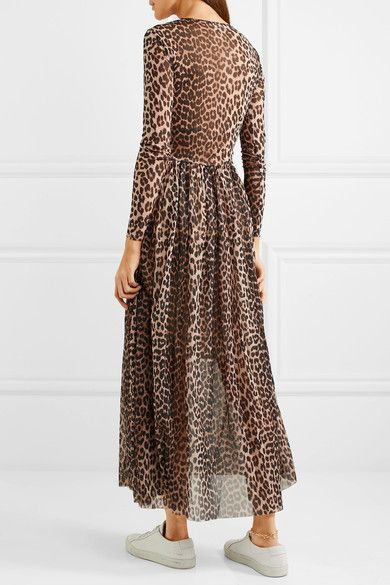 3a36dd26 GANNI - Tilden leopard-print stretch-mesh maxi dress | Inspiration ...