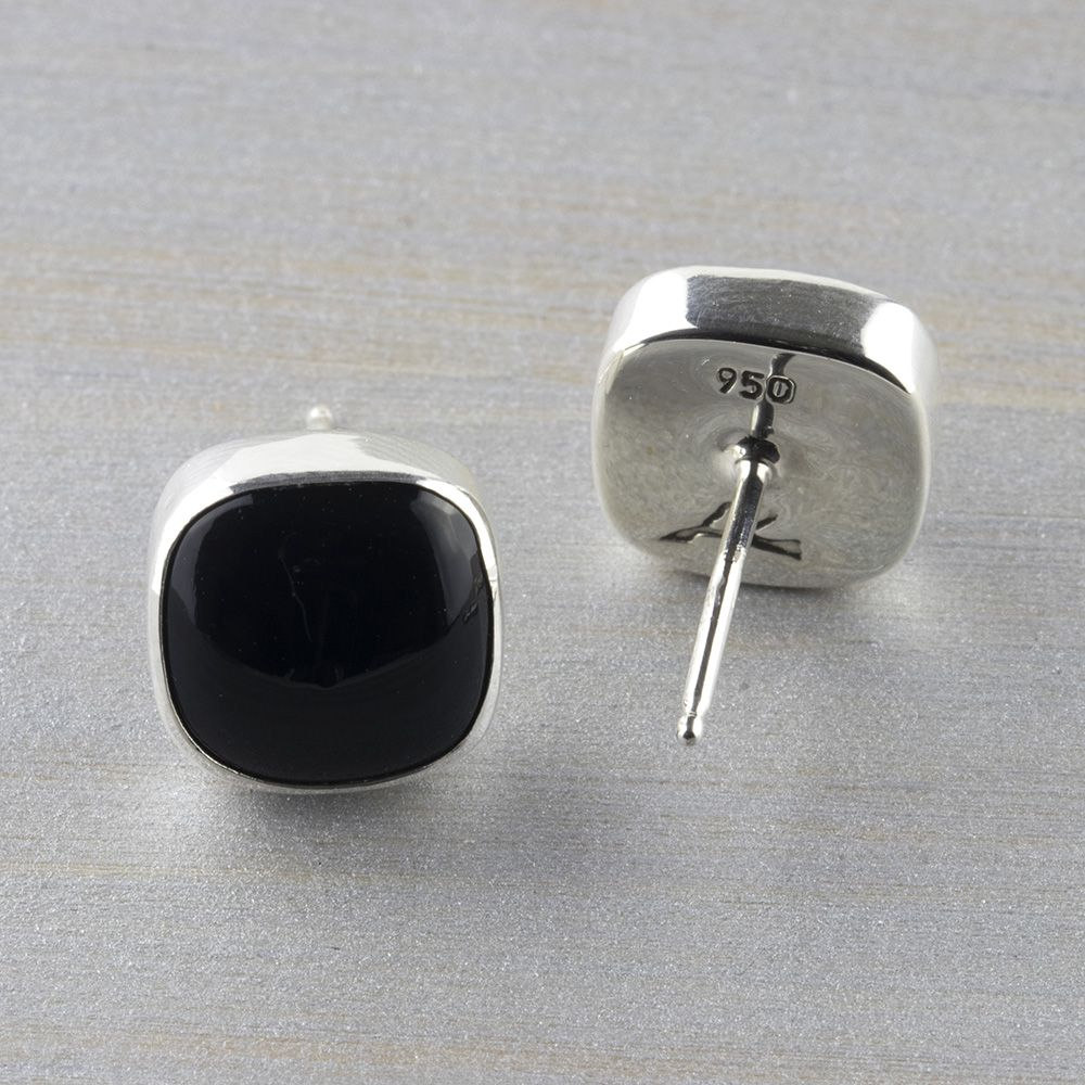 7692103b9 These black obsidian stud earrings are centered with square obsidian stones  and set in a fine sterling silver finish. Handmade earrings | Handmade  silver ...