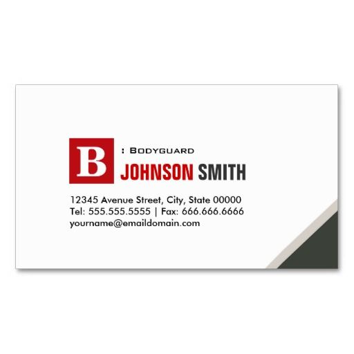 Bodyguard Simple Chic Red Business Cards