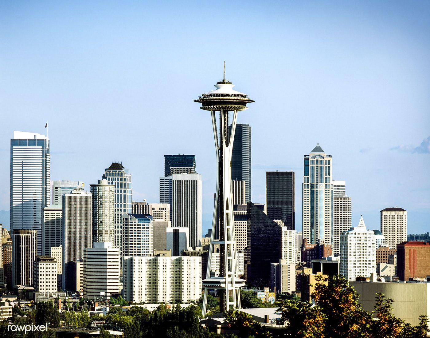 Seattle Skyline Featuring The Space Needle Original Image From Carol M Highsmith S America Library Of Congress Collectio Seattle Skyline Skyline Seattle Usa