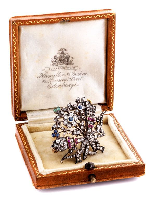 Antique diamond brooch, ca. 1890s, rose cut diamonds, rubies, sapphires, emeralds, approx 3.6 cm
