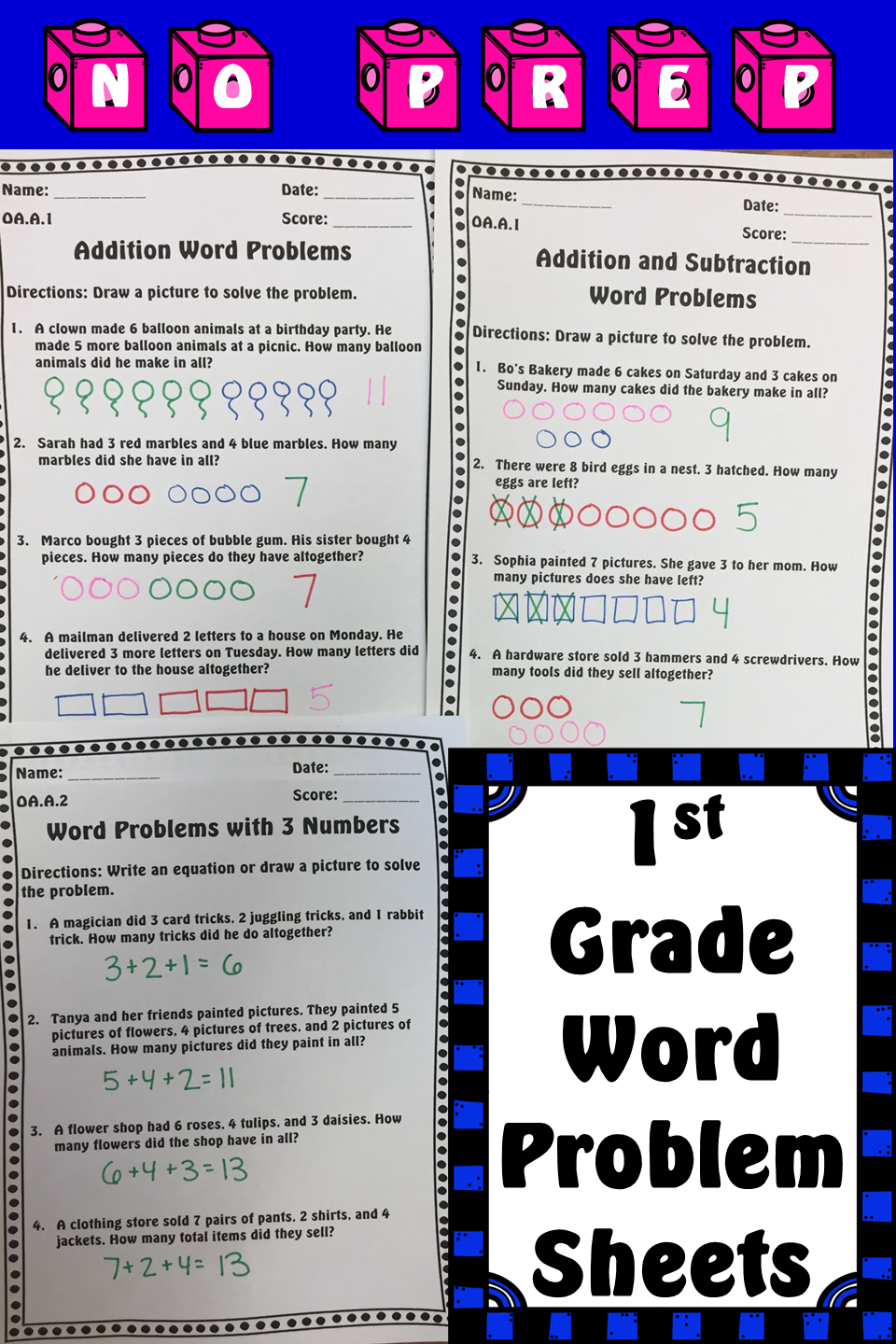 Addition Subtraction Word Problems Worksheets Assessments