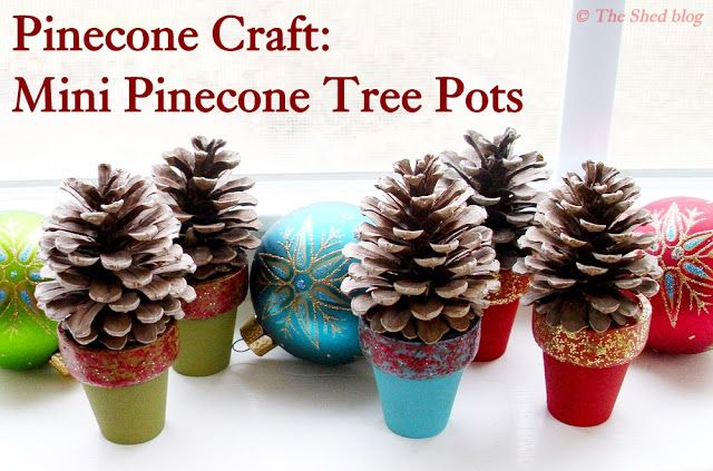 pinecone tree pots 100 days of homemade holiday inspiration on hoosierhomemadecom 100days christmas crafts - Homemade Pine Cone Christmas Decorations