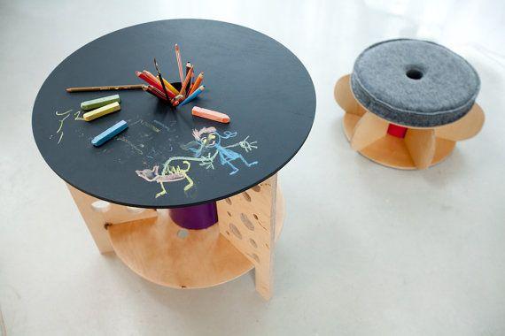 Children S Chalkboard Table By Nanowo On Etsy Meuble Enfant Enrouleur De Cable Idees Deco Enfant