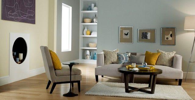 Pastellfarben Wohnzimmer Ideen Hellblau Gelb