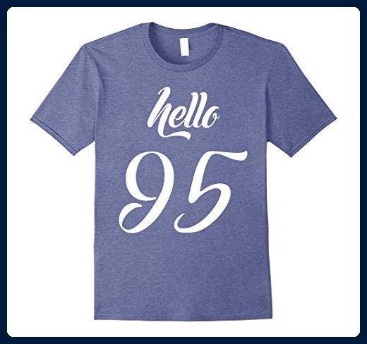 Mens Birthday Gift Hello 95 Years Old T Shirt Medium Heather Blue