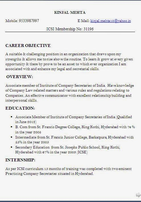 cv for it job Sample Template Example ofExcellent Curriculum Vitae - indian resume format for freshers
