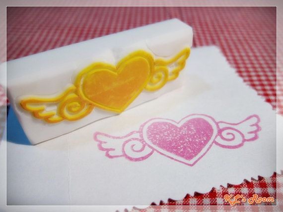 Flying Heart Stamp  Hand Carved Rubber Stamp by KLRoom on Etsy, $7.00