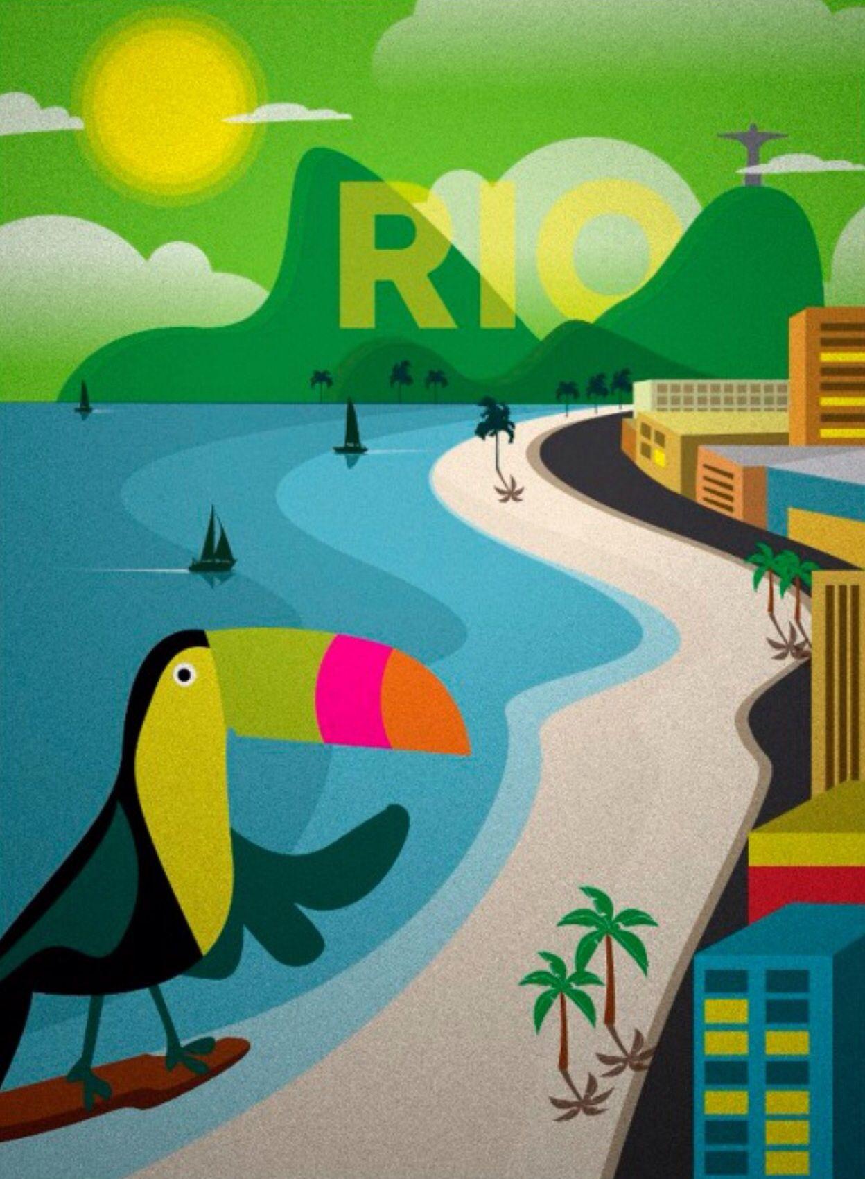 Rio De Janeiro Retro Travel Poster Travel Poster Design