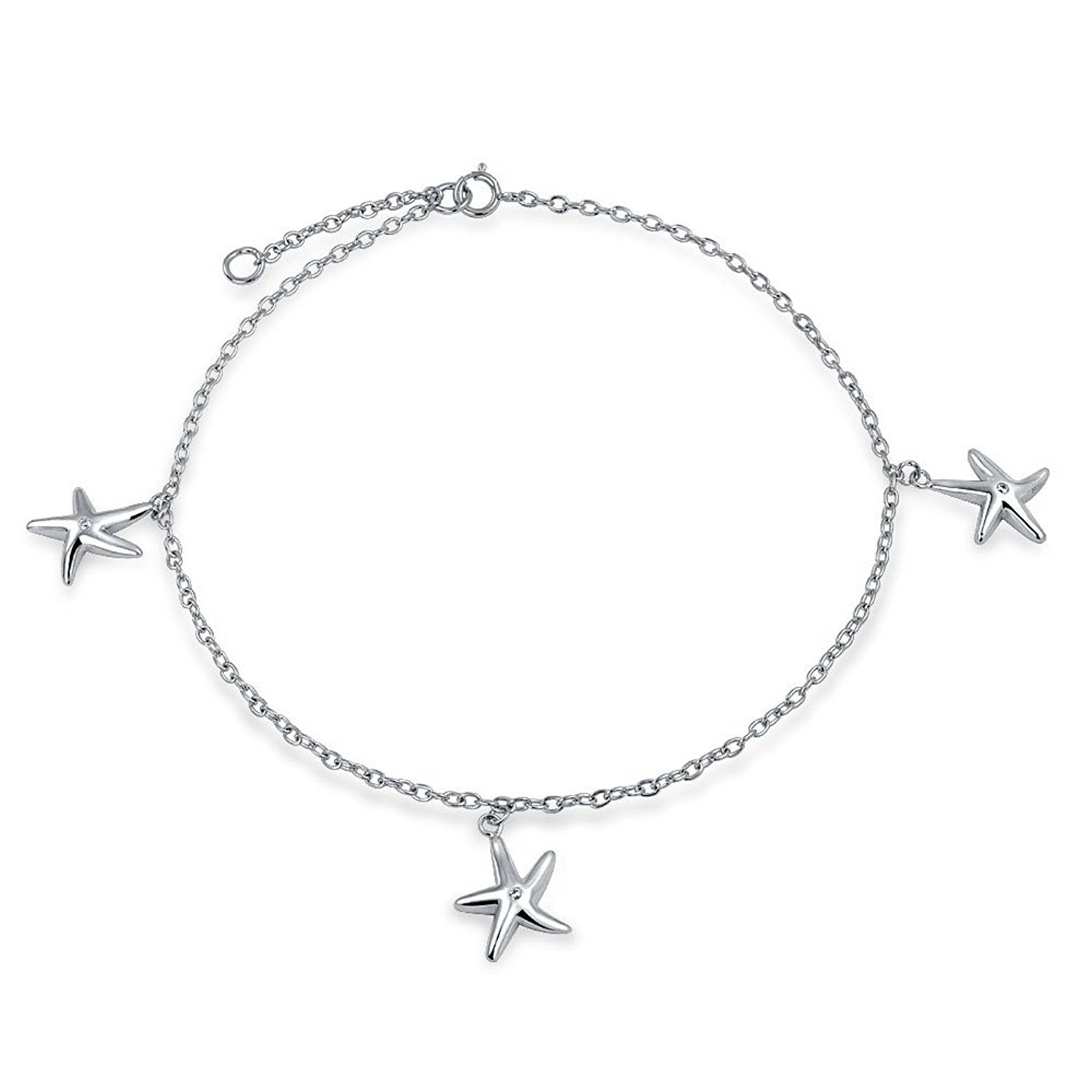 Bling Jewelry Anklet Ankle Bracelet Sterling Silver Trio Starfish CZ 11 Inch * Find out more details by clicking the image : Jewelry