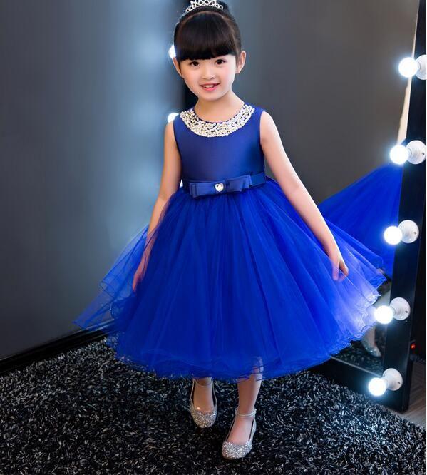 Girls Royal Bridesmaid Dress Kids Princess Wedding Summer Party Flower Bow