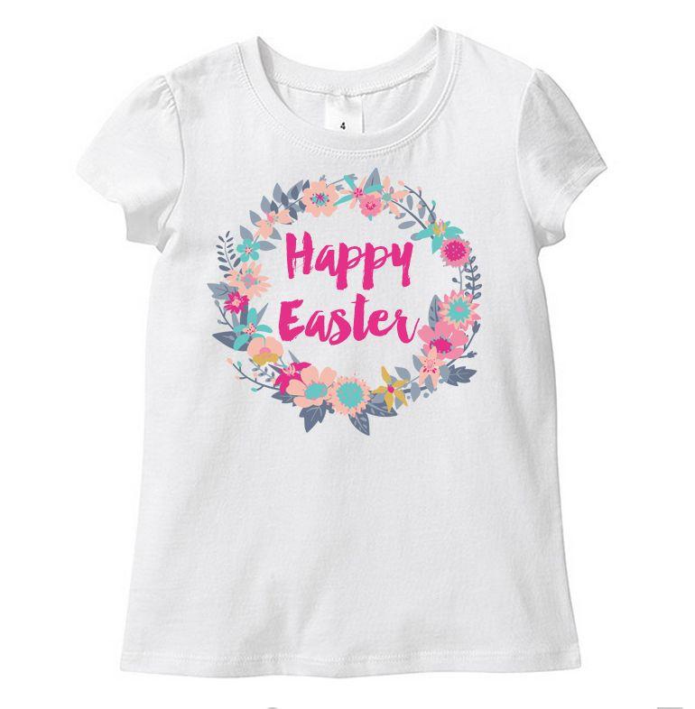 Floral Wreath Happy Easter Toddler Tee Custom Printed Baby
