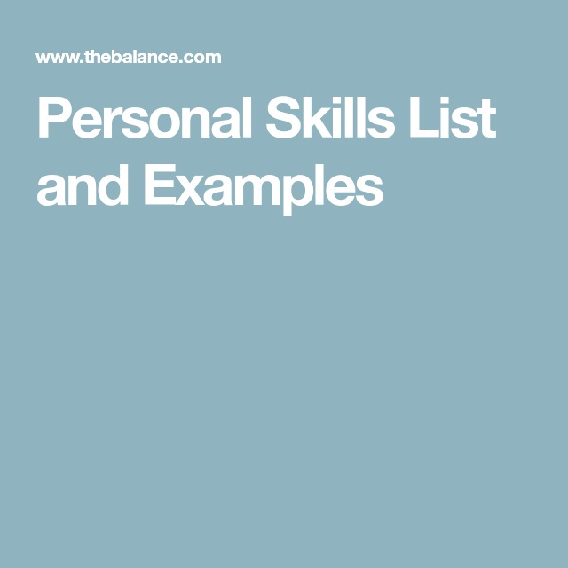 List of Personal Skills   Skills list and Resume cover letters