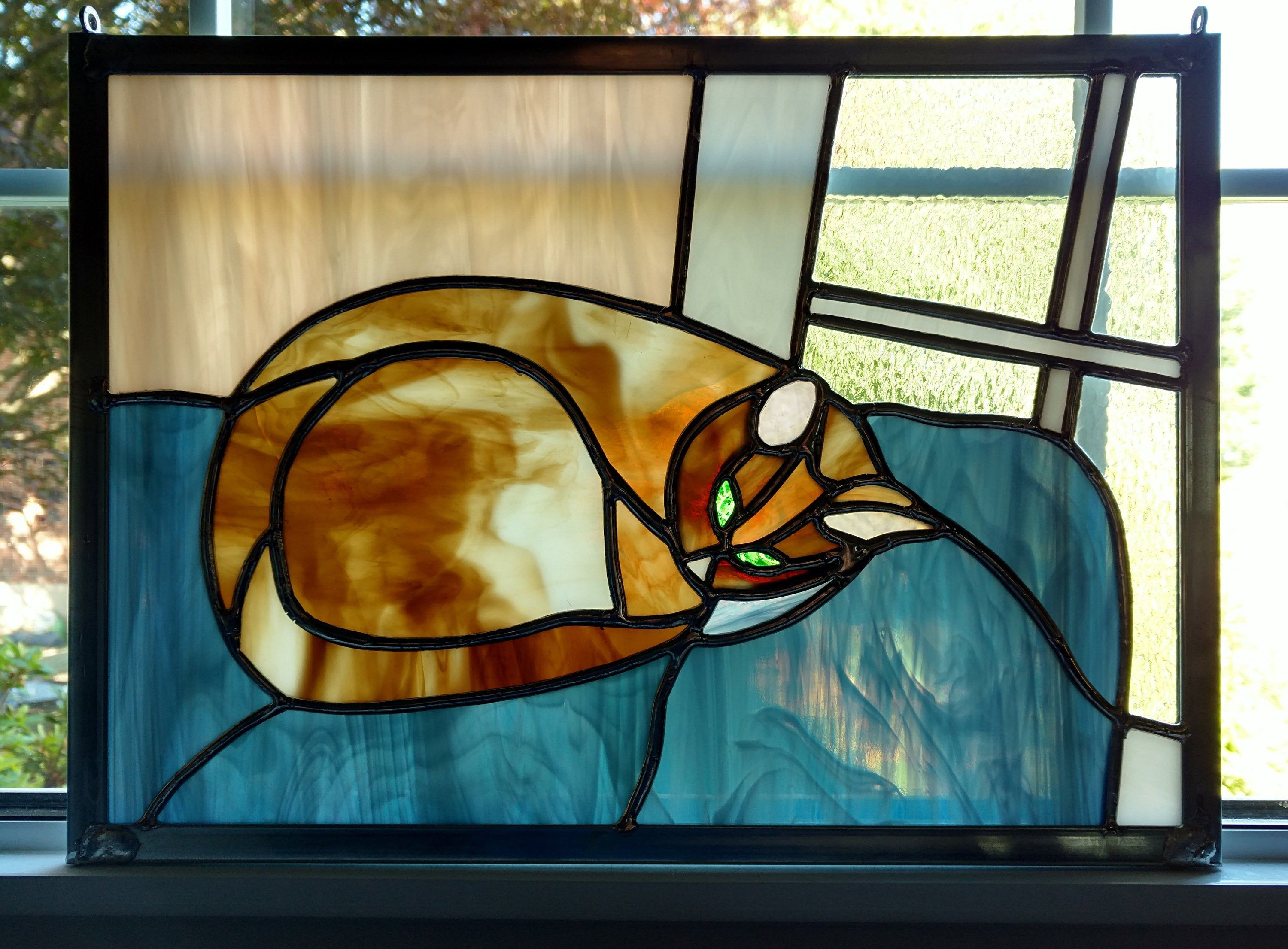 Cat Stained Gl Window Panel