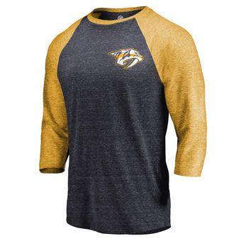 uk availability 865a1 c258c Fanatics Branded Nashville Predators Navy Gold Refresh Shift 3 4-Sleeve  Raglan T-Shirt