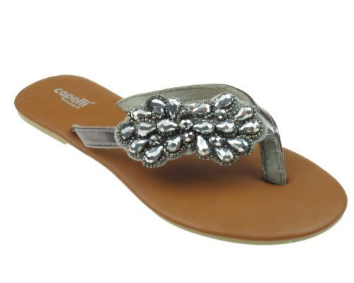 5191a6771c8e Capelli New York Ladies Fashion Flip Flop With Metallic Beaded Flower Thong  Pewter Grey