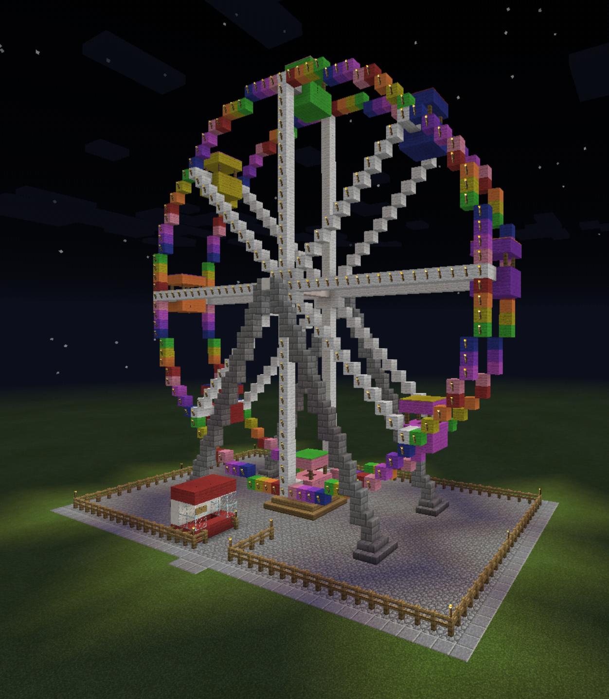 Minecraft Ferris Wheel Ticket Booth Colorful Amusement ...  Minecraft Ferri...