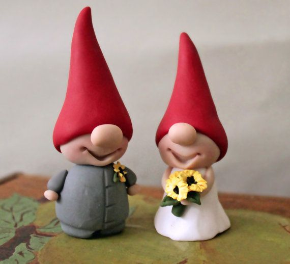 Gnome Cake Toppers Custom Colors Red And Yellow Wedding