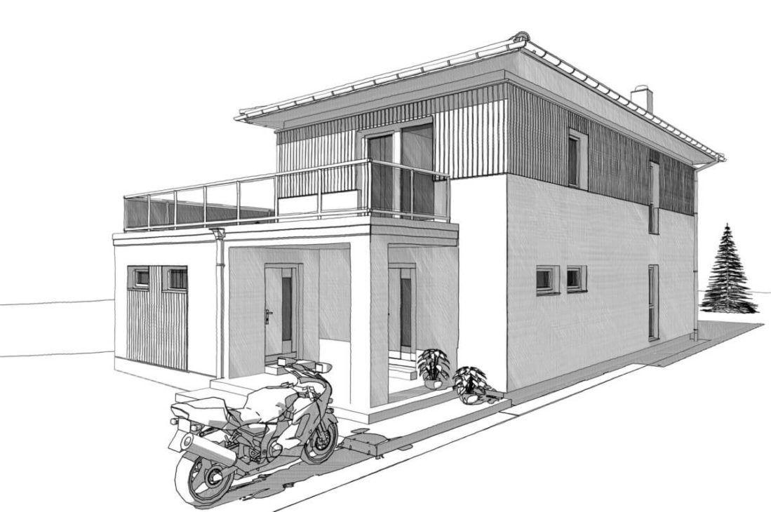 Schmales Einfamilienhaus ELK Haus 138 mit Büro Anbau - ELK ...