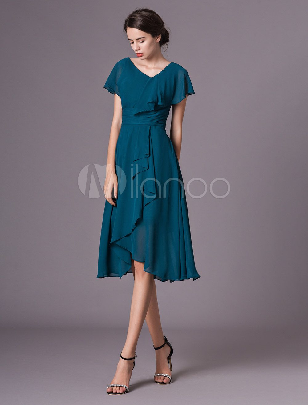 028ea3bfabe Wedding Guest Dress Ink Blue Short Sleeve V Neck Chiffon Ruffles Mother  Dress