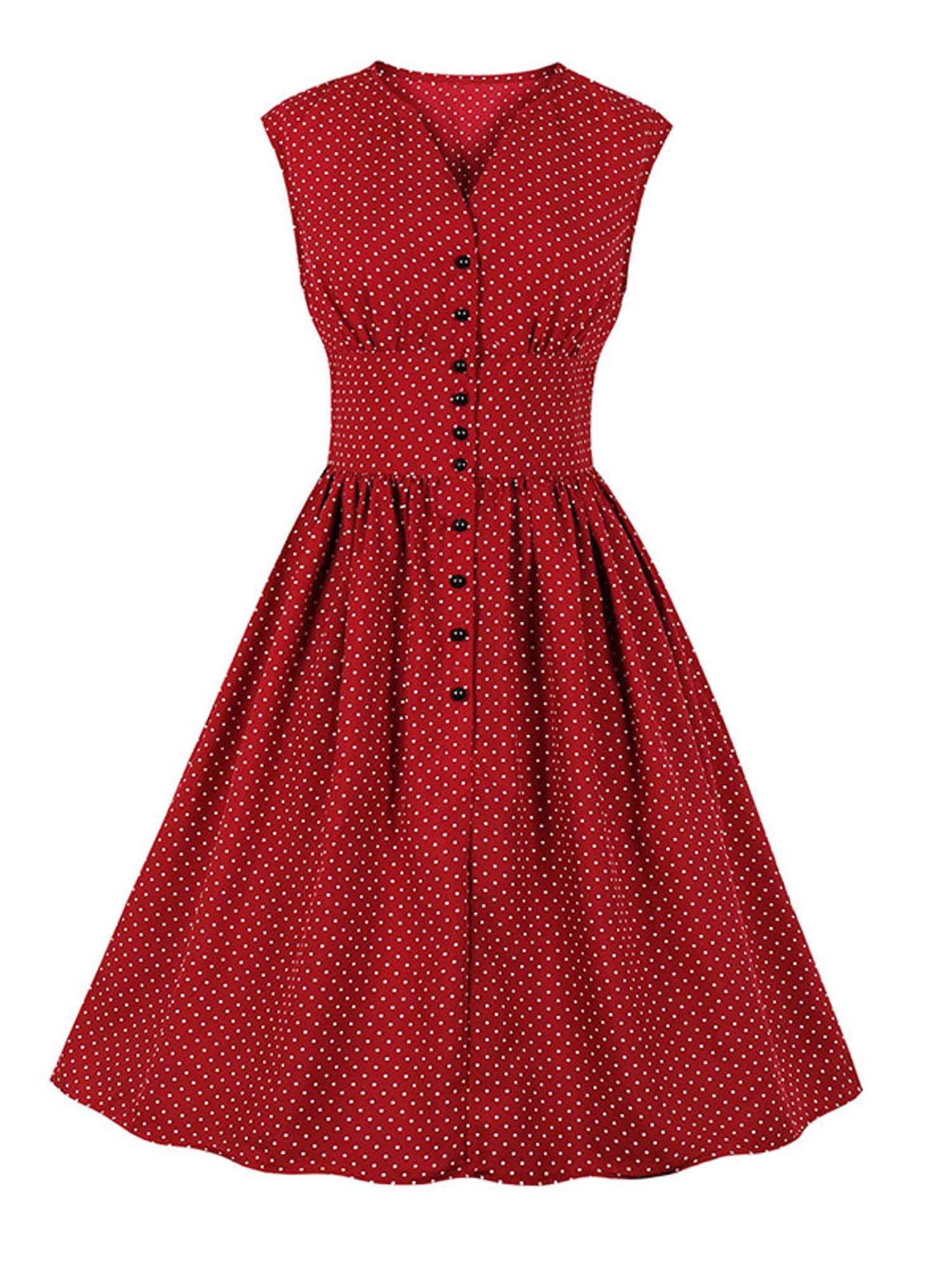 Lallc Women S Button Plus Size Vintage Polka Dot V Neck Swing Midi Dress Walmart Com Retro Red Dress Vintage Dresses Polka Dress [ 2000 x 1500 Pixel ]