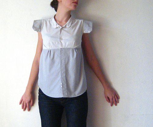Transformation chemise homme en blouse femme r utilisation des poignets pour faire de manches - Idees recyclage vetements ...