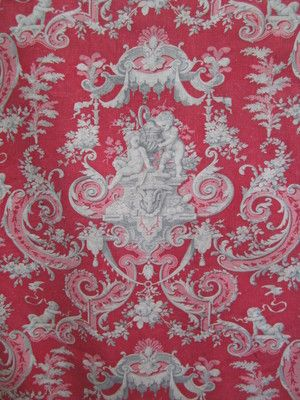 Gorgeous Antique French RED Toile 19th Fabric Floral Fragment Cherub Angel Putti