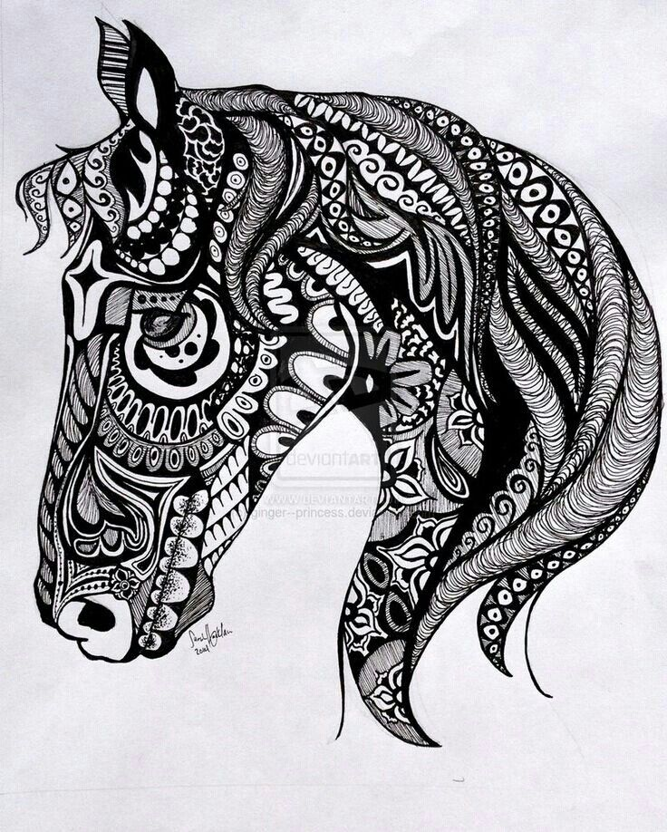 pin by lisa fisher on coloring pages pinterest horse tattoo and zentangle. Black Bedroom Furniture Sets. Home Design Ideas