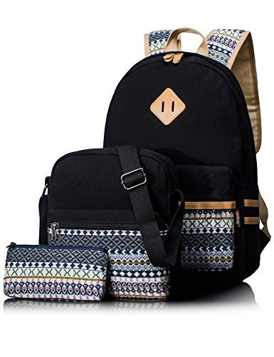 2017 Back-to-School Popular Backpacks Teens   Tweens - Leaper Casual  Lightweight Canvas Laptop Bag Cute School Backpacks+Shoulder Bag+Pen Case  Purse (Black ... 3b4adf29f9f0b