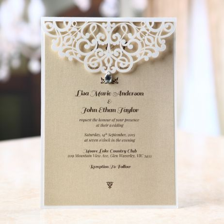 Jeweled laser cut wedding invitation silk screening ecru inner