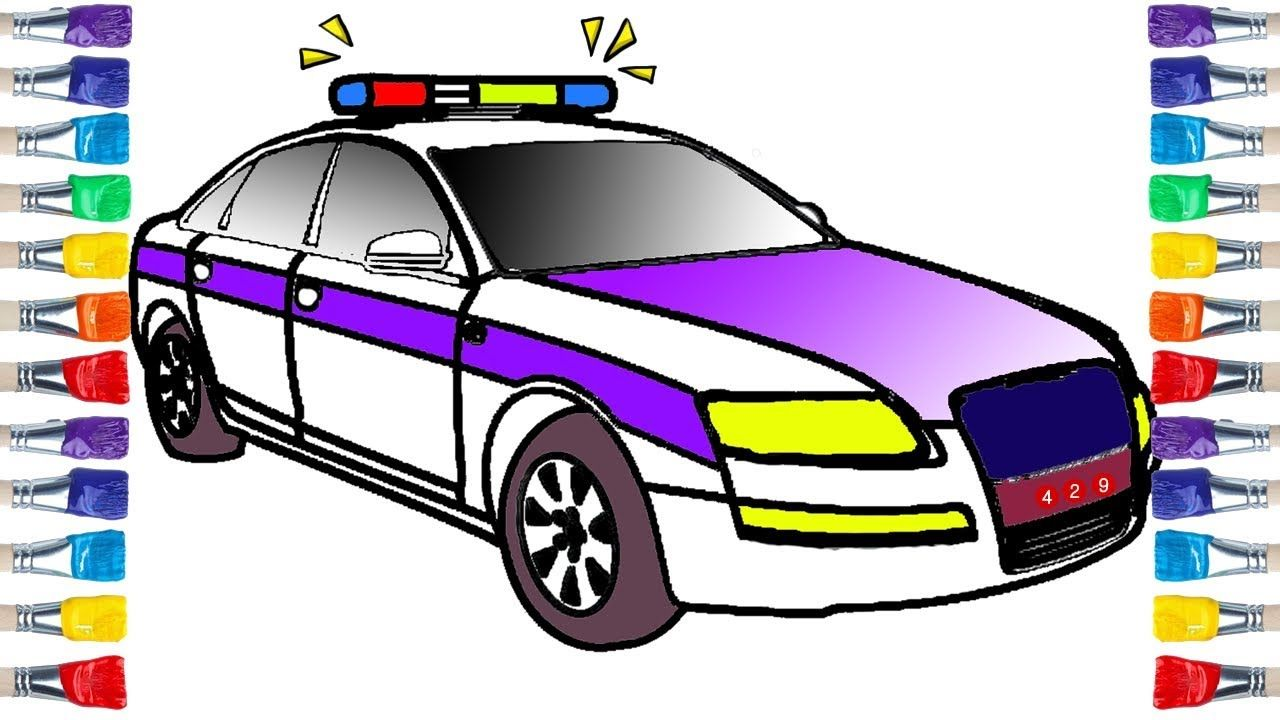 Draw Police Car Police Car Toy Drawing And Coloring For Kids Coloring For Kids Toy Car Police Cars