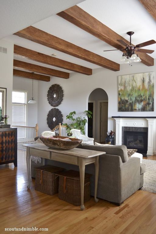 Traditional Living Room with Hardwood floors, Pendant ...