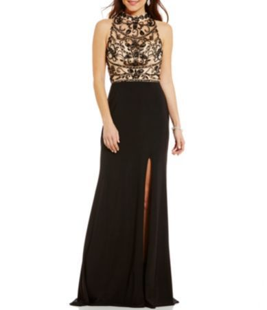 8d29440ca2a Coya Collection Opaque Beaded Bodice Mock Neck Illusion-Yoke Open-Back Long  Dress  Dillards
