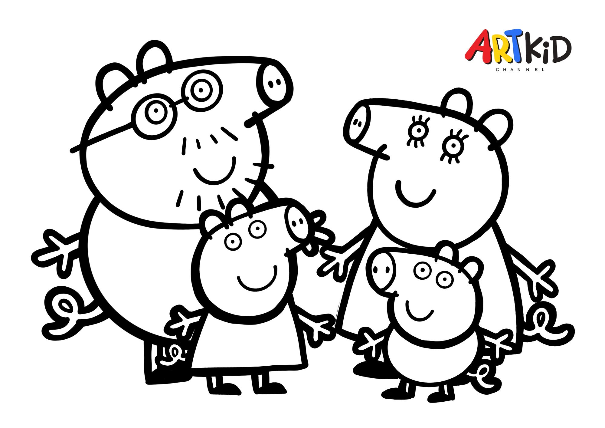 Peppa Pig Family Free Printable Coloring Pages