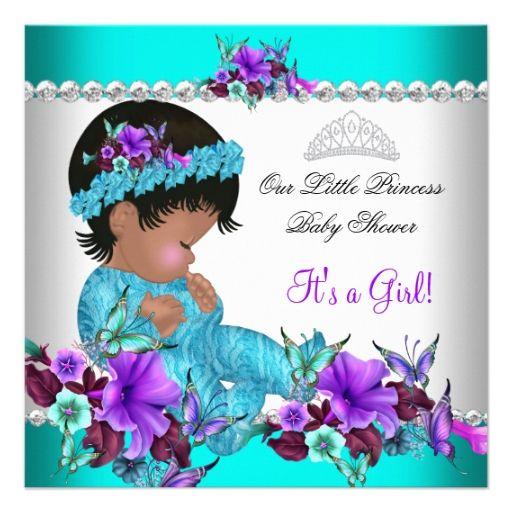baby shower girl teal blue purple 3 card purple baby teal blue purple