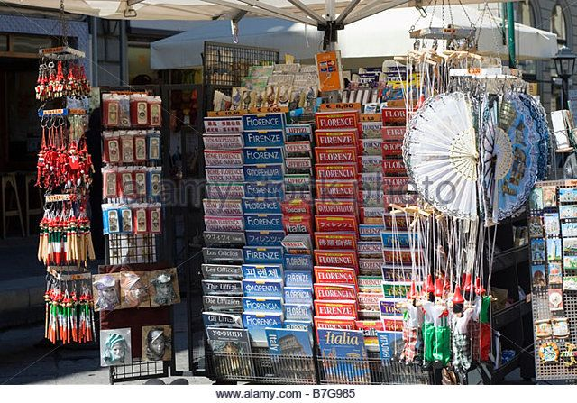 Souvenir stall in Florence - Stock Image