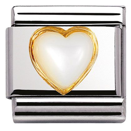 Nomination Composable Classic Gemstone White Opal Heart made of Stainless Steel and 18K Gold BRaRaUWc