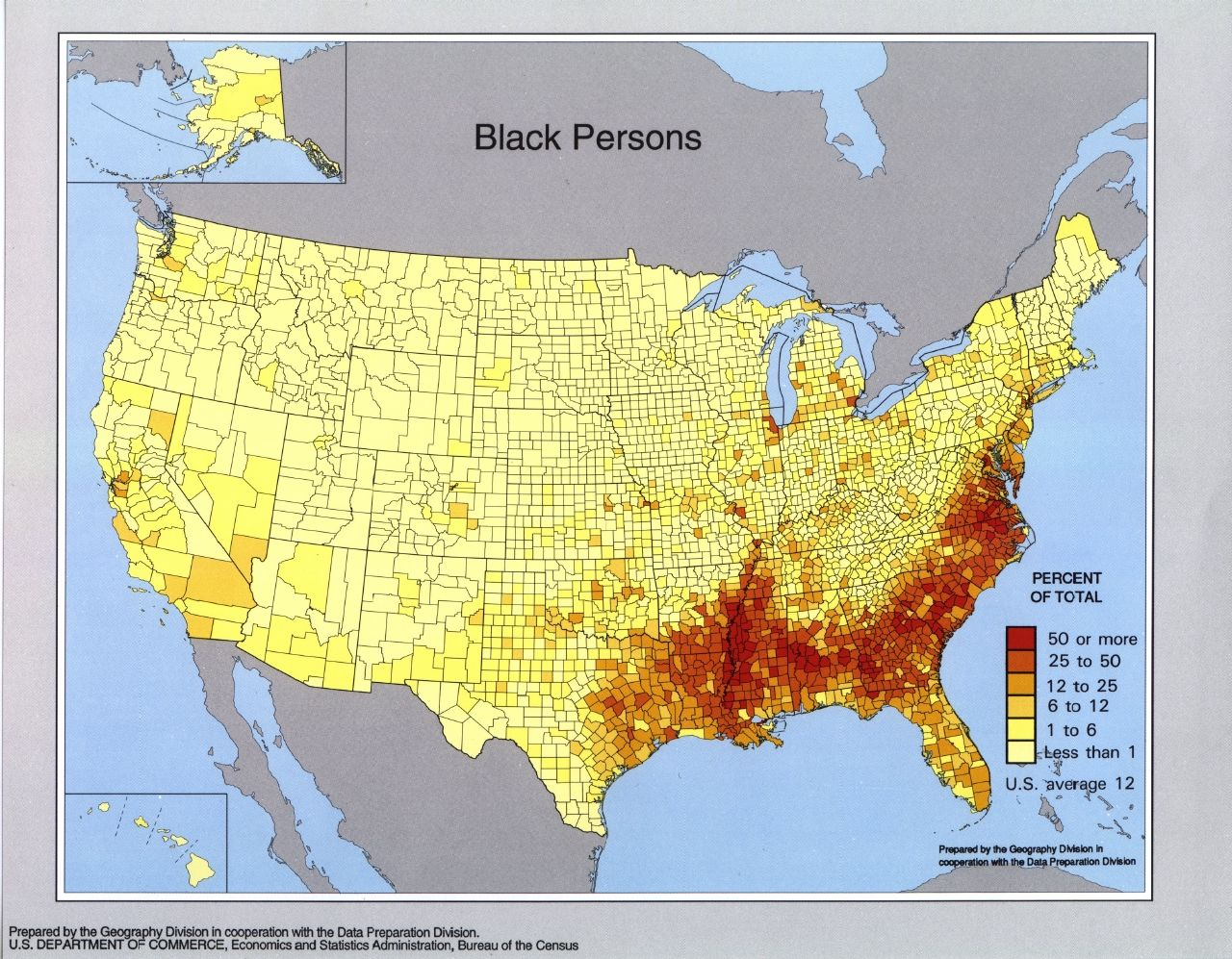 Black persons population density in the United States