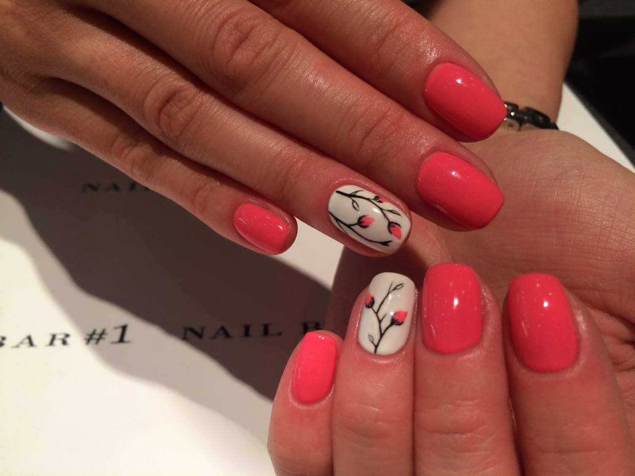 Bright Red And White Flower Bud Summer Art For Short Round Nails