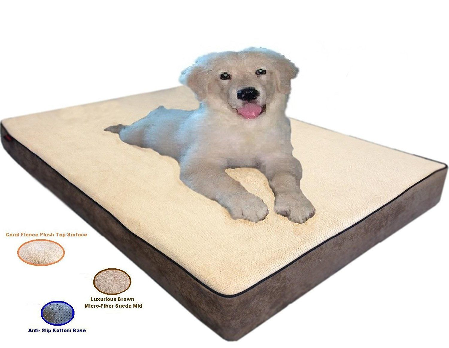 Replacement Beige Color Coral Fleece MicroFiber Plush Suede Slip Resistant External Zippered Gusset Style Luxurious Comfortable Soft External Dog Pet Bed Cover -- Remarkable product available now.