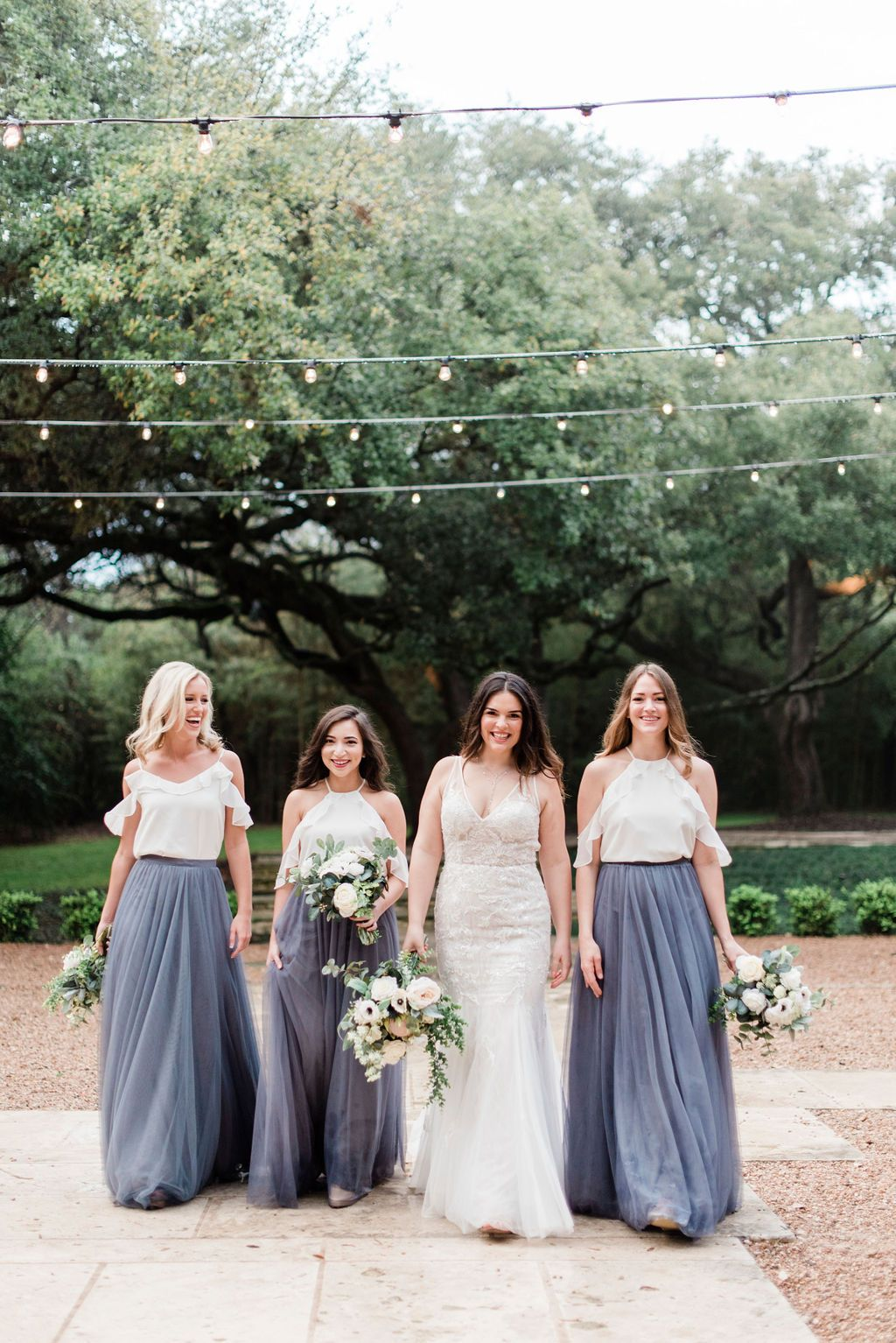 Off The Shoulder Chiffon Bridesmaid Tops Paired With Our Skylar Tulle Skirt In Shades Dusty Blue Go Per Bridesmaid Dresses Boho Bridesmaid Bridesmaid Separates