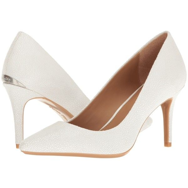 Calvin Klein Gayle (Platinum White Stingray Print Leather) High Heels  ($109) ❤