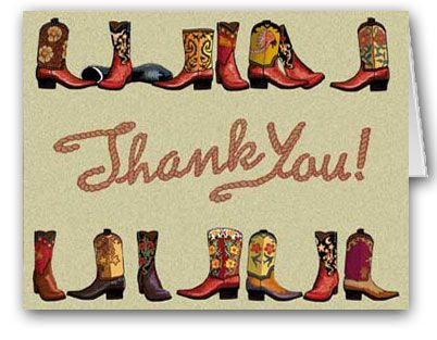 Cowboy Boot Thank You Cards