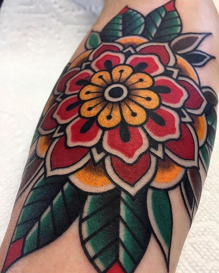 Tattoo By Grahambeech Traditional Traditionaltattoo Tra Traditional Tattoo Flowers Traditional Mandala Tattoo Traditional Tattoo Flash Flowers