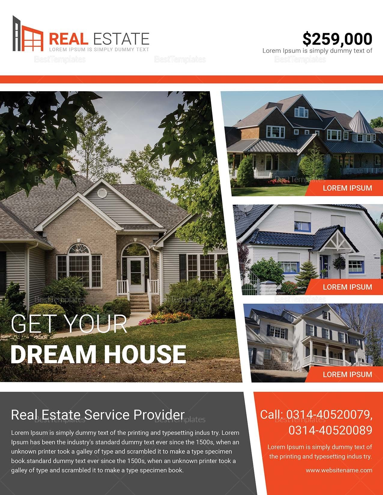 Dream Home Real Estate Flyer Design Real Estate Houses Real Estate Flyers Real Estate Flyer Template House for sale flyer template