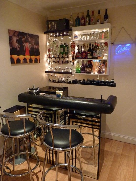 House Bar Ideas small, stylish, simple, and stackable against the wall when not in