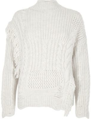 1b1068f659d23 River Island Womens Cream mixed stitch fringe cable knit sweater ...